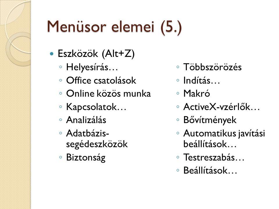Menüsor elemei (5.) Eszközök (Alt+Z) Helyesírás… Office csatolások