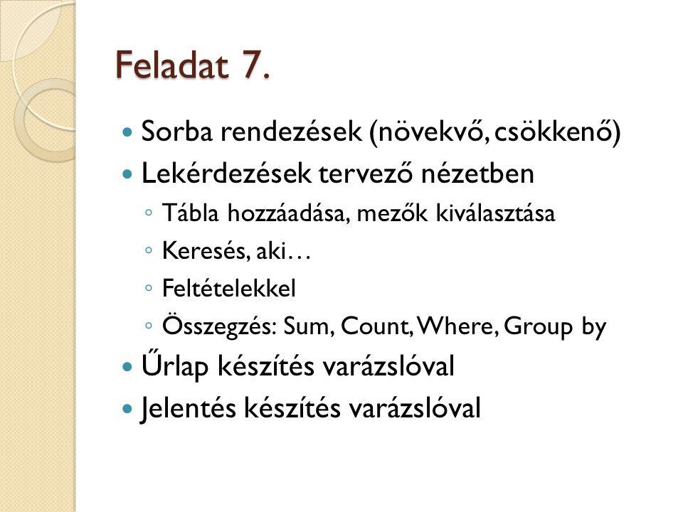 Feladat 7. Sorba rendezések (növekvő, csökkenő)