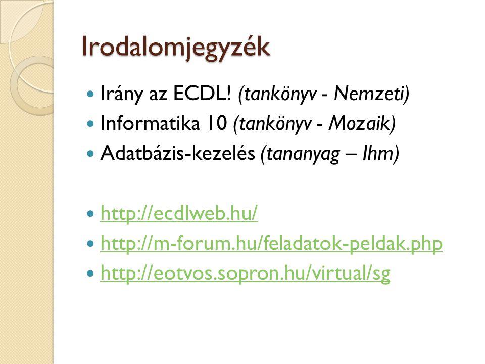 Irodalomjegyzék Irány az ECDL! (tankönyv - Nemzeti)