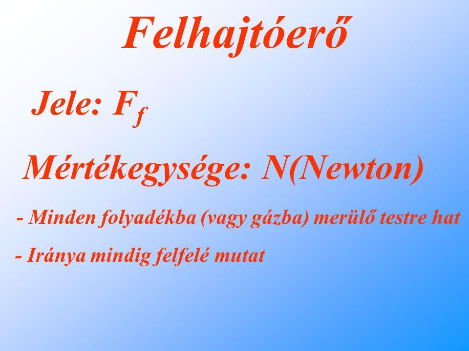 Felhajtóerő Jele: Ff Mértékegysége: N(Newton)