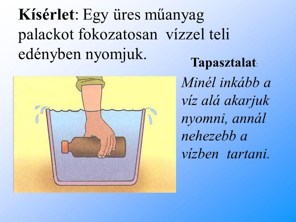 Kísérlet: Egy üres műanyag palackot fokozatosan vízzel teli edényben nyomjuk.