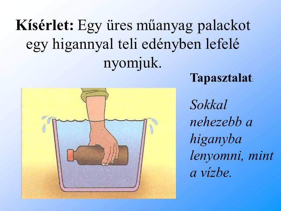 Kísérlet: Egy üres műanyag palackot egy higannyal teli edényben lefelé nyomjuk.