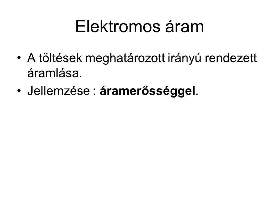 Elektromos áram A töltések meghatározott irányú rendezett áramlása.