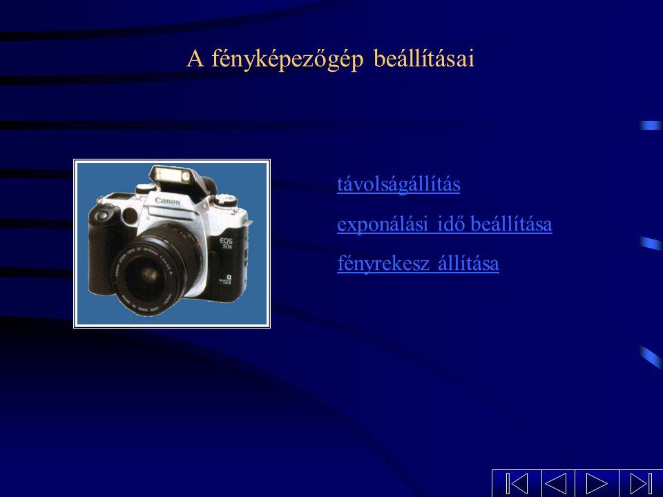 A fényképezőgép beállításai