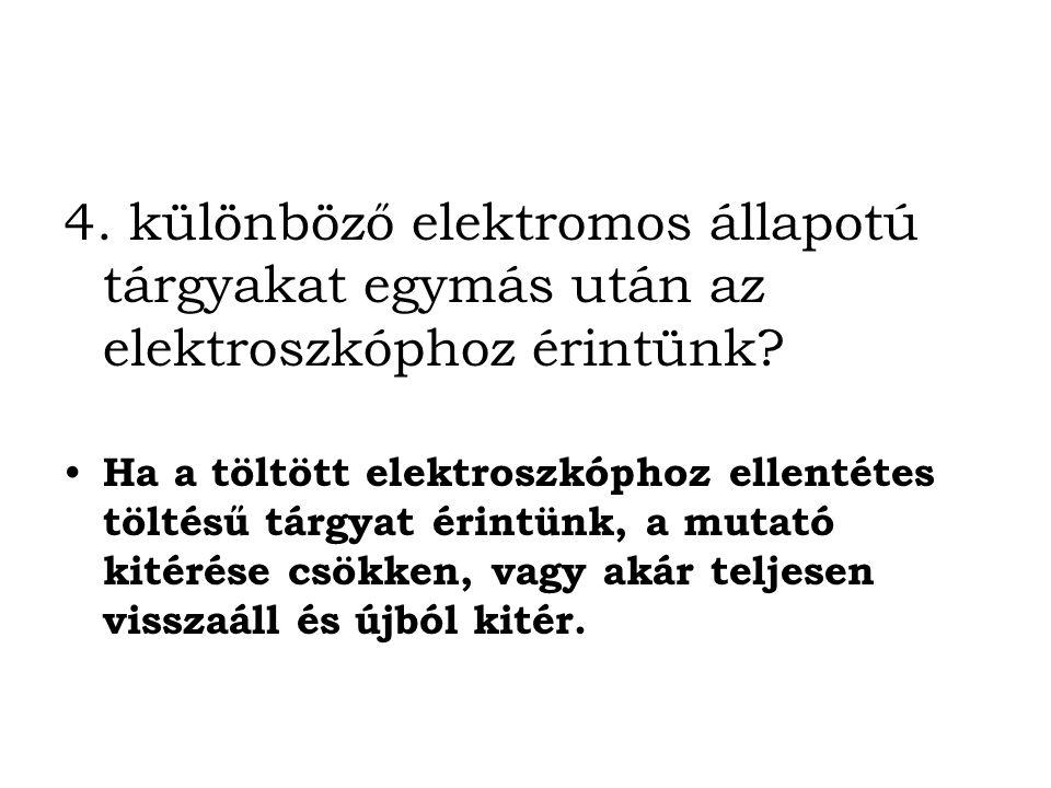 4. különböző elektromos állapotú tárgyakat egymás után az elektroszkóphoz érintünk
