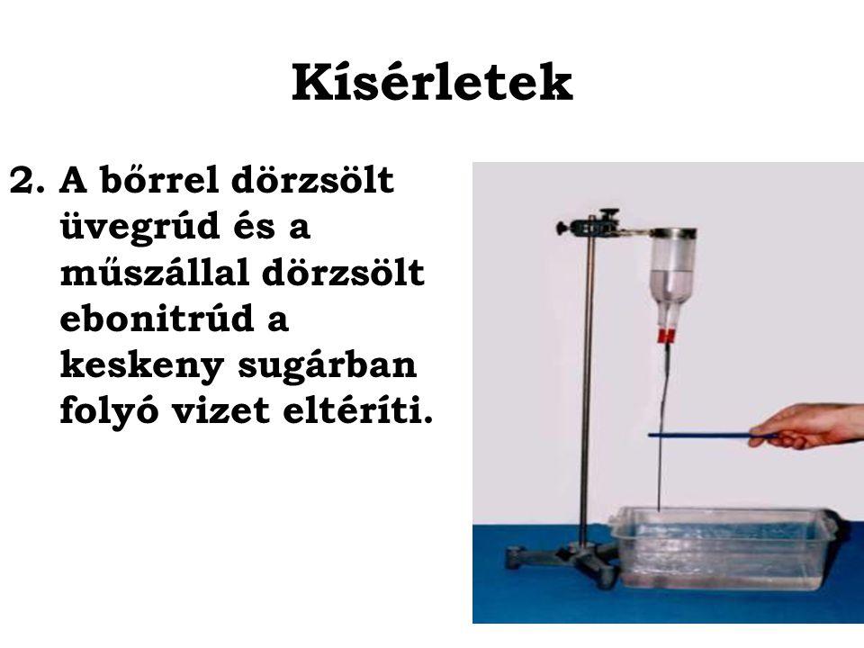 Kísérletek A bőrrel dörzsölt üvegrúd és a műszállal dörzsölt ebonitrúd a keskeny sugárban folyó vizet eltéríti.