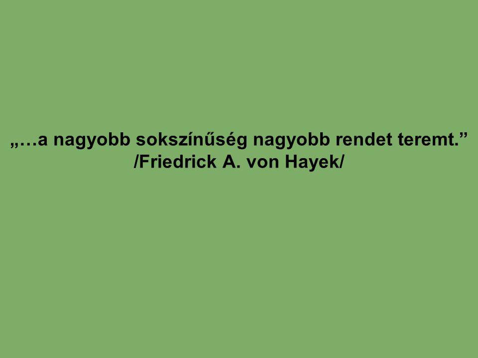 """""""…a nagyobb sokszínűség nagyobb rendet teremt. /Friedrick A"""