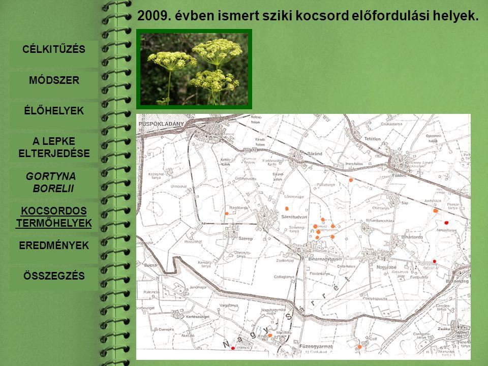 2009. évben ismert sziki kocsord előfordulási helyek.