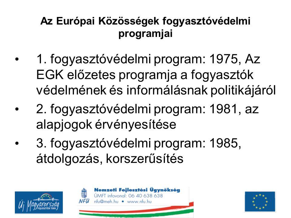 Az Európai Közösségek fogyasztóvédelmi programjai