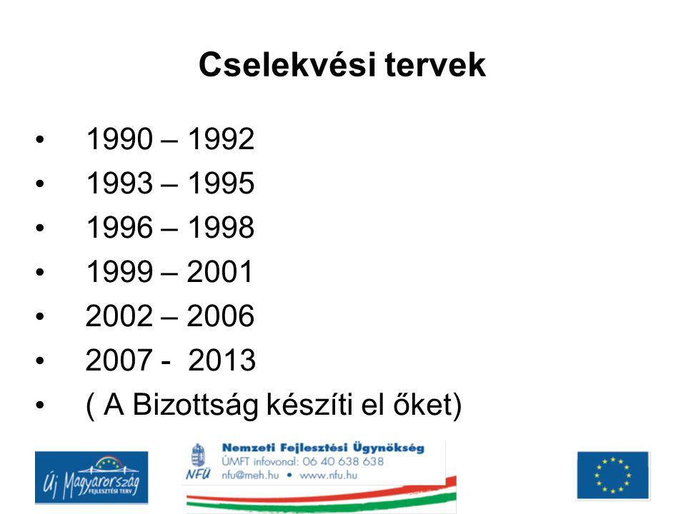 Cselekvési tervek 1990 – 1992 1993 – 1995 1996 – 1998 1999 – 2001