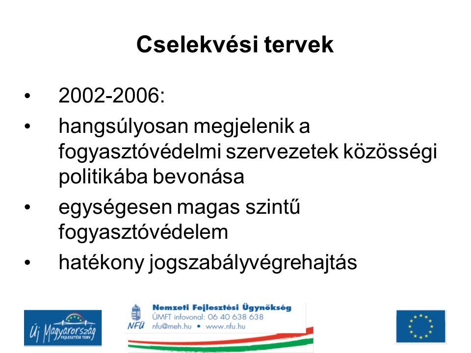 Cselekvési tervek 2002-2006: hangsúlyosan megjelenik a fogyasztóvédelmi szervezetek közösségi politikába bevonása.