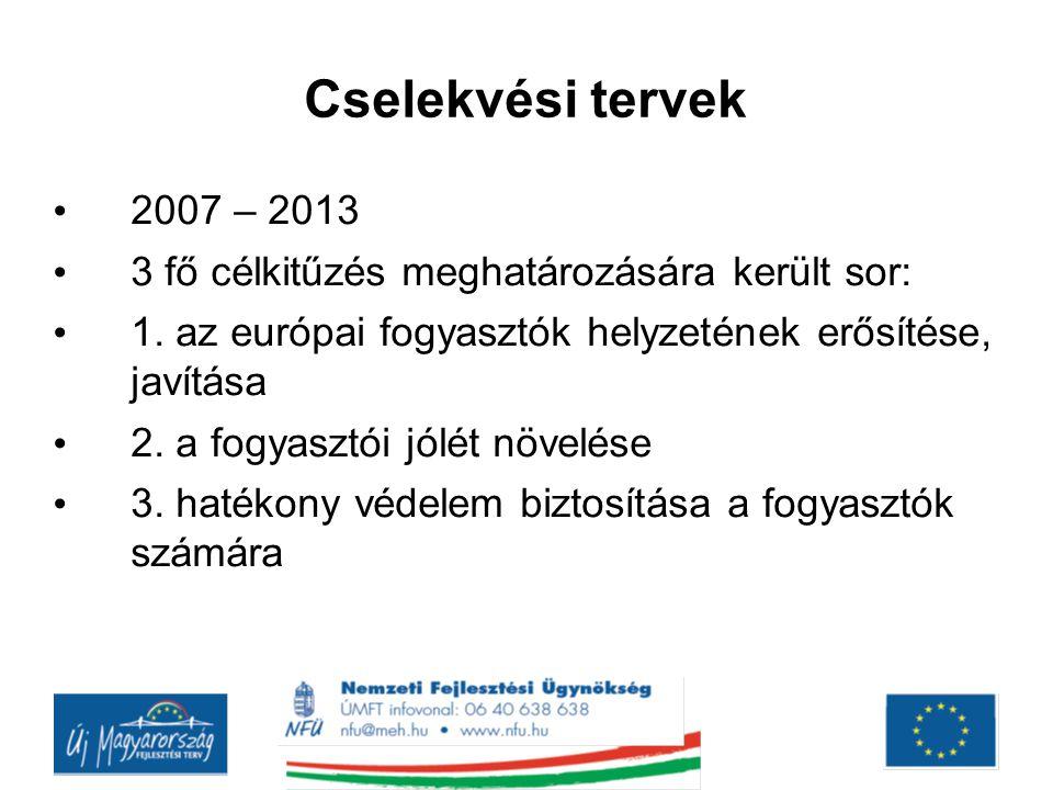 Cselekvési tervek 2007 – 2013. 3 fő célkitűzés meghatározására került sor: 1. az európai fogyasztók helyzetének erősítése, javítása.