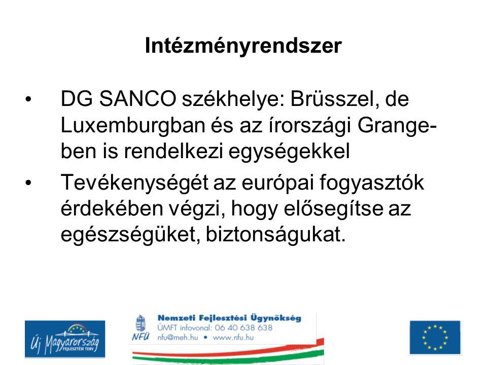 Intézményrendszer DG SANCO székhelye: Brüsszel, de Luxemburgban és az írországi Grange- ben is rendelkezi egységekkel.