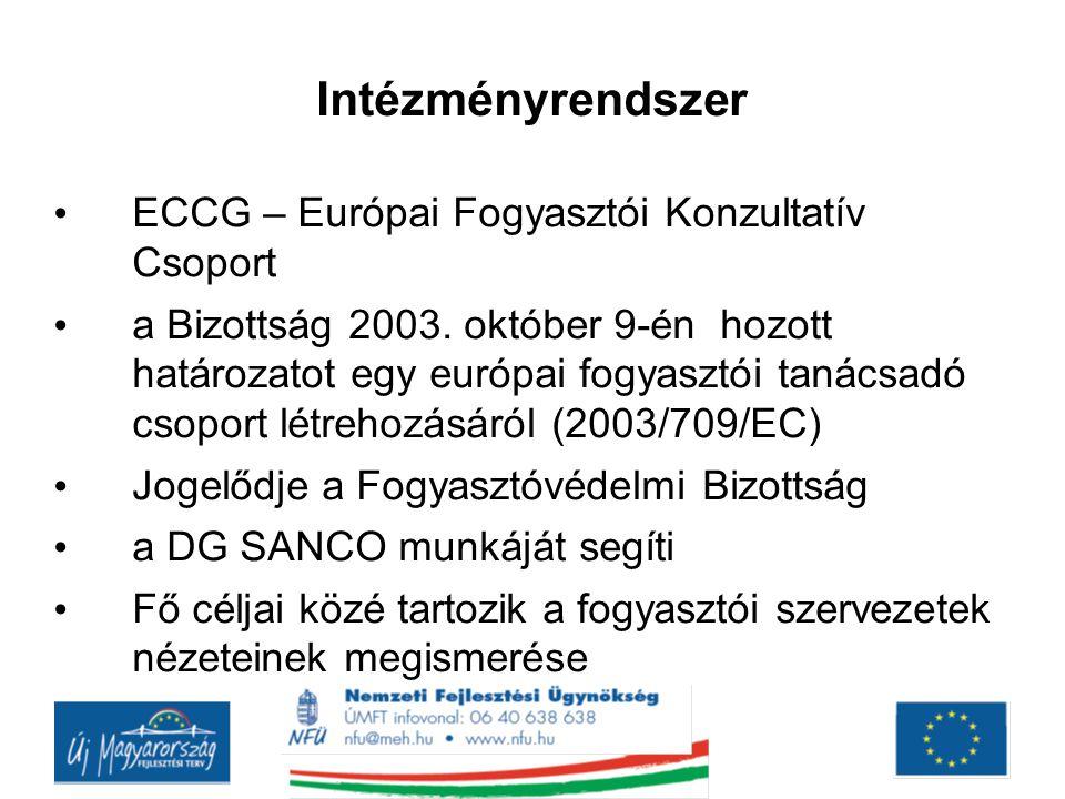 Intézményrendszer ECCG – Európai Fogyasztói Konzultatív Csoport