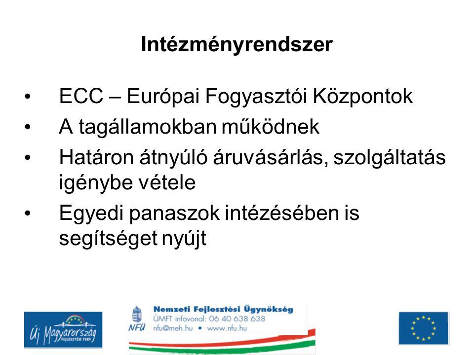 Intézményrendszer ECC – Európai Fogyasztói Központok. A tagállamokban működnek. Határon átnyúló áruvásárlás, szolgáltatás igénybe vétele.
