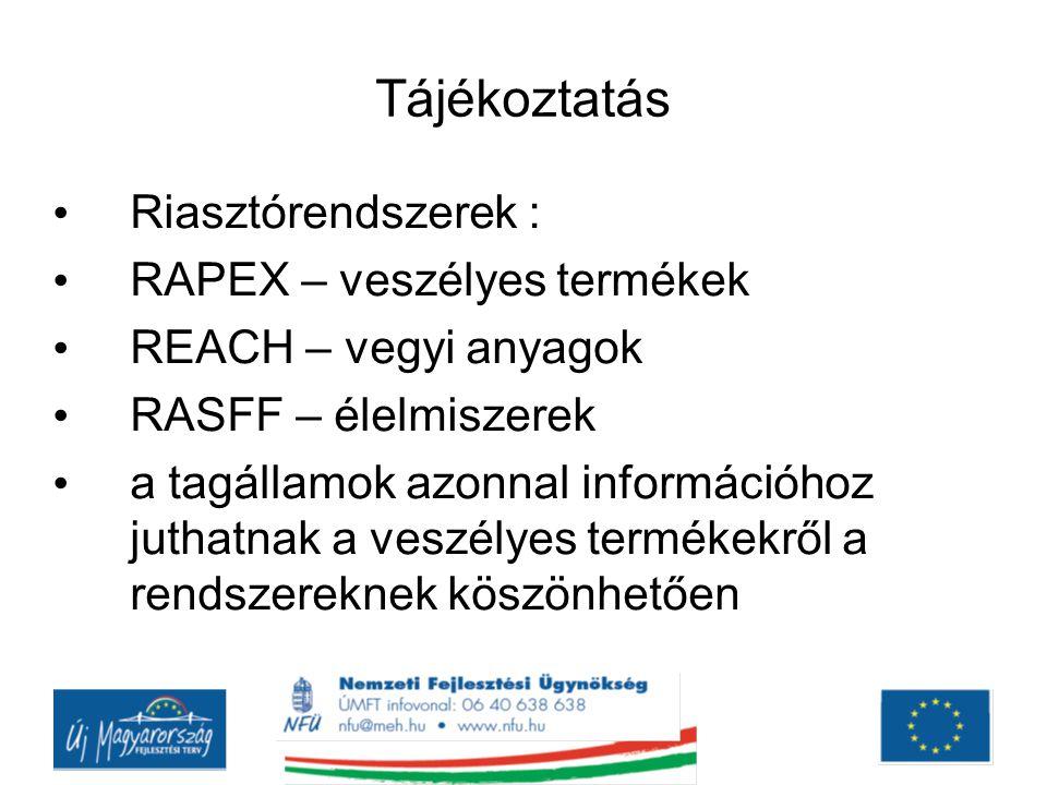 Tájékoztatás Riasztórendszerek : RAPEX – veszélyes termékek