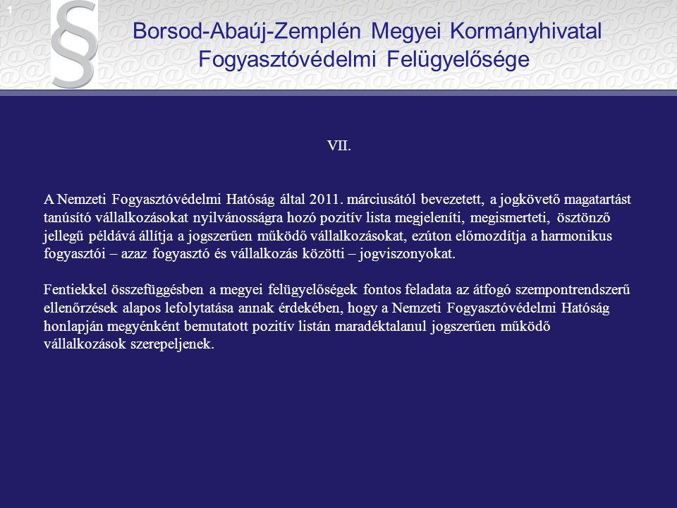 1 Borsod-Abaúj-Zemplén Megyei Kormányhivatal Fogyasztóvédelmi Felügyelősége. VII.
