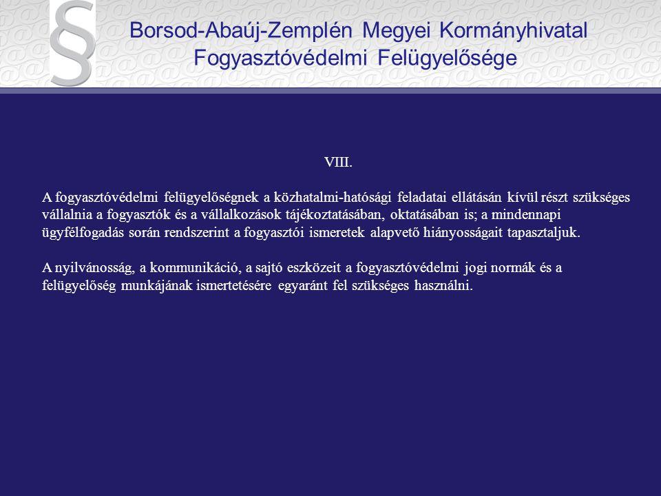 Borsod-Abaúj-Zemplén Megyei Kormányhivatal Fogyasztóvédelmi Felügyelősége