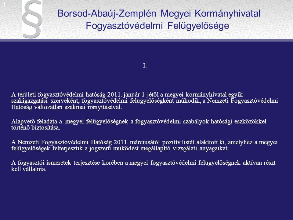 1 Borsod-Abaúj-Zemplén Megyei Kormányhivatal Fogyasztóvédelmi Felügyelősége. I.