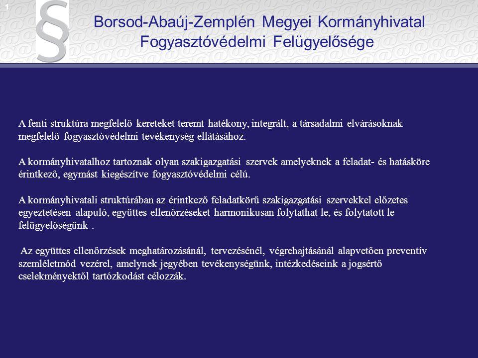 1 Borsod-Abaúj-Zemplén Megyei Kormányhivatal Fogyasztóvédelmi Felügyelősége.