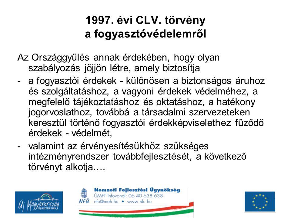 1997. évi CLV. törvény a fogyasztóvédelemről
