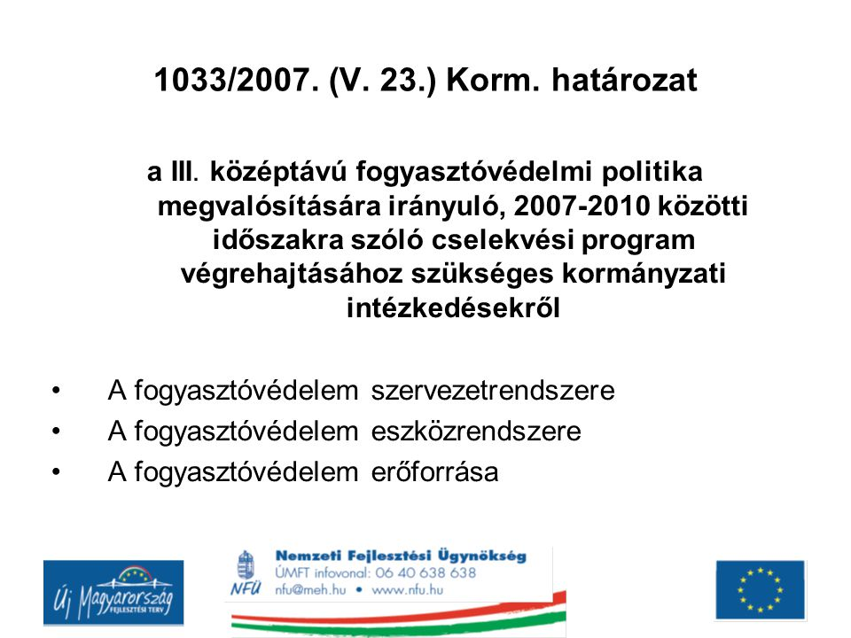1033/2007. (V. 23.) Korm. határozat