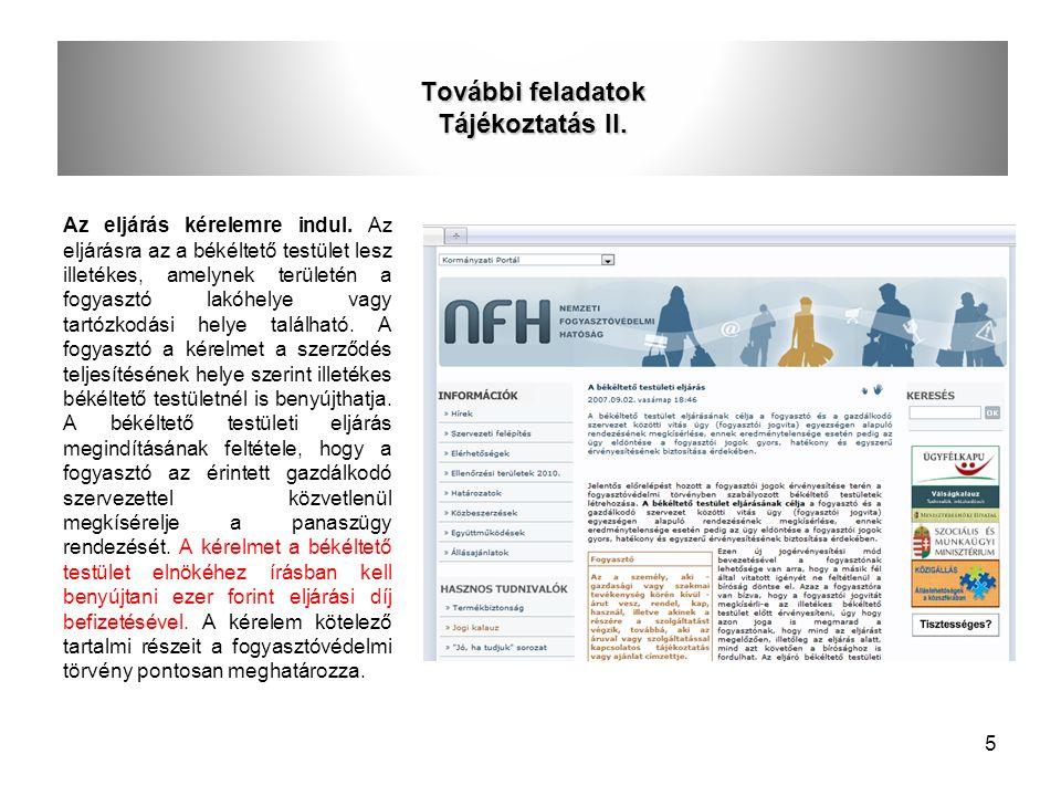 További feladatok Tájékoztatás II.