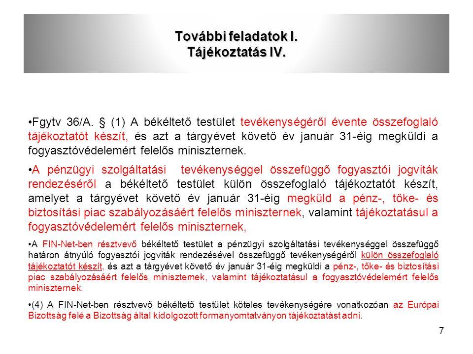 További feladatok I. Tájékoztatás IV.