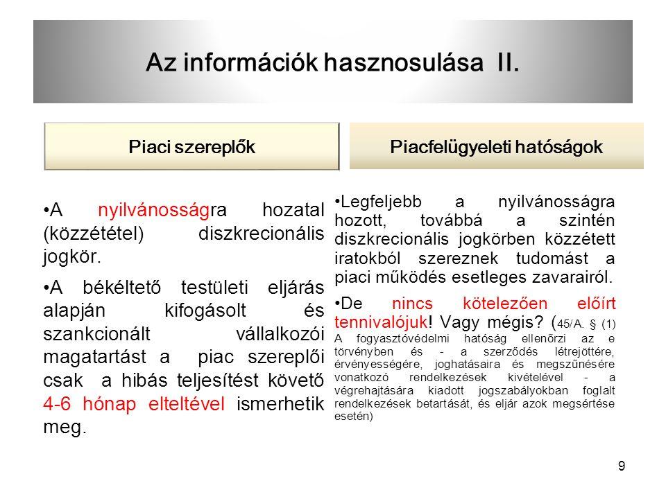 Az információk hasznosulása II.