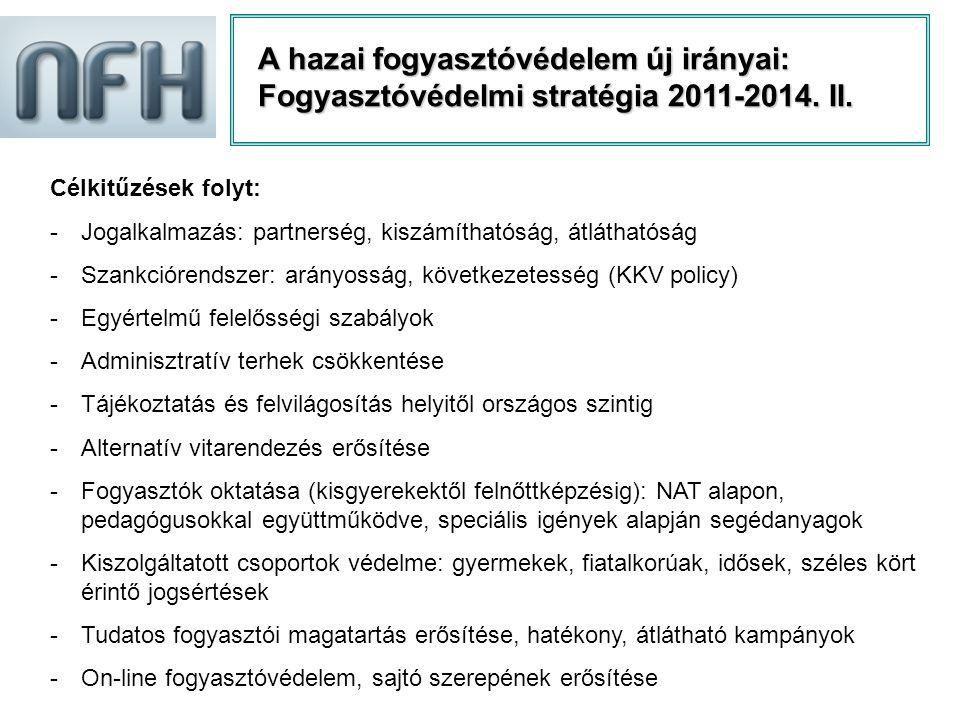 A hazai fogyasztóvédelem új irányai: Fogyasztóvédelmi stratégia 2011-2014. II.