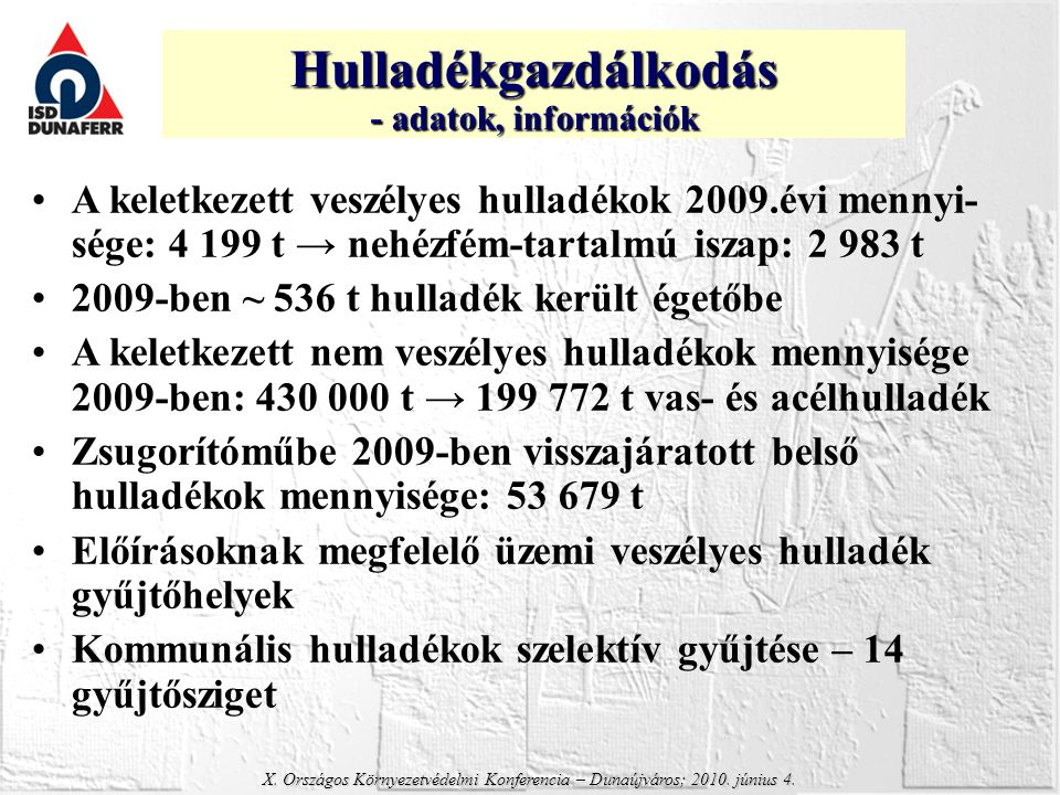 Hulladékgazdálkodás - adatok, információk. A keletkezett veszélyes hulladékok 2009.évi mennyi-sége: 4 199 t → nehézfém-tartalmú iszap: 2 983 t.