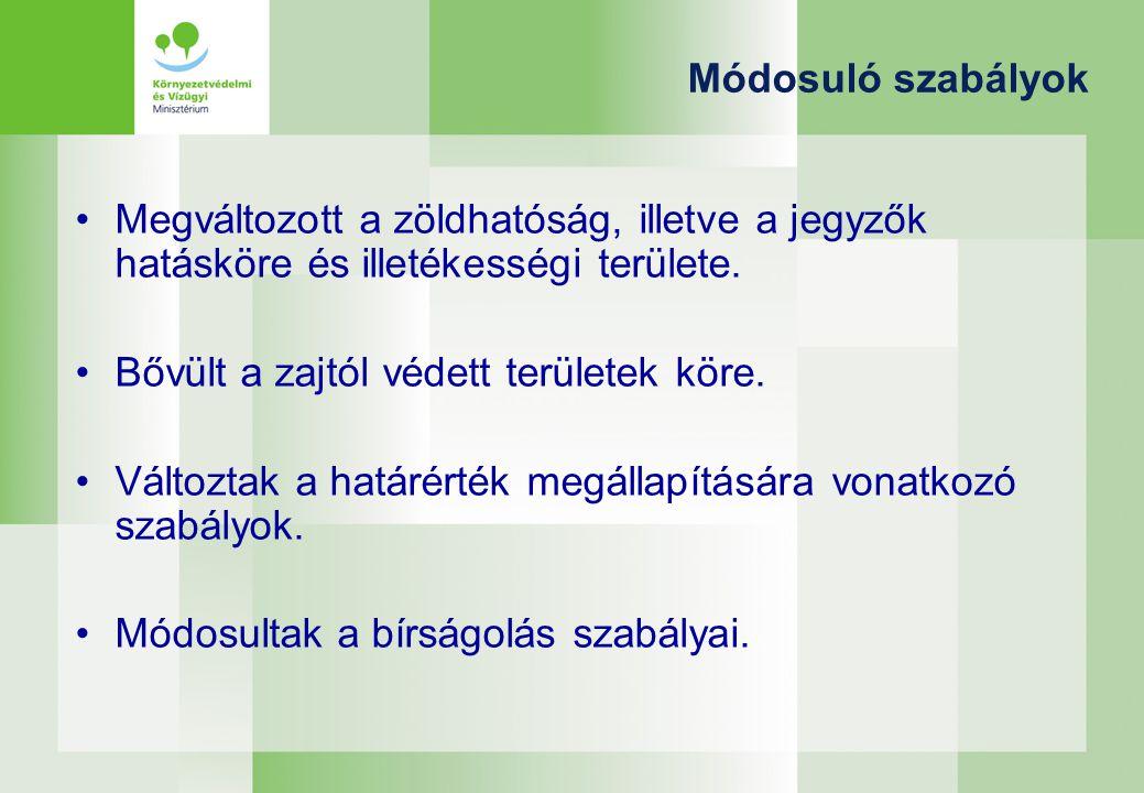 Módosuló szabályok Megváltozott a zöldhatóság, illetve a jegyzők hatásköre és illetékességi területe.