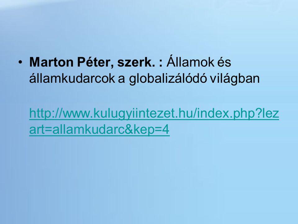 Marton Péter, szerk. : Államok és államkudarcok a globalizálódó világban