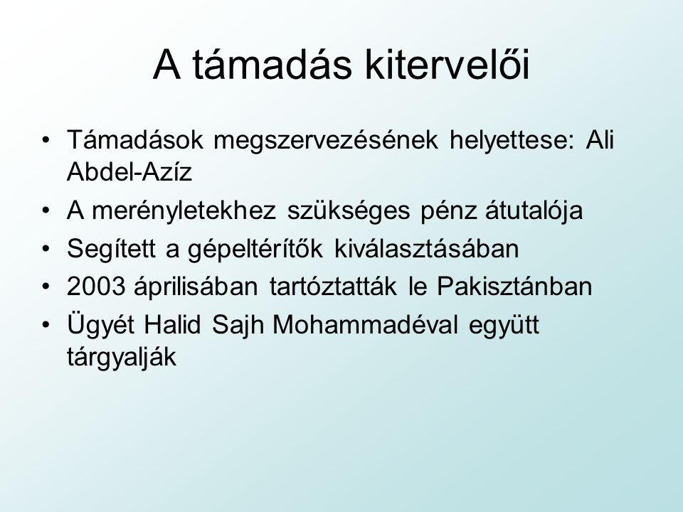 A támadás kitervelői Támadások megszervezésének helyettese: Ali Abdel-Azíz. A merényletekhez szükséges pénz átutalója.