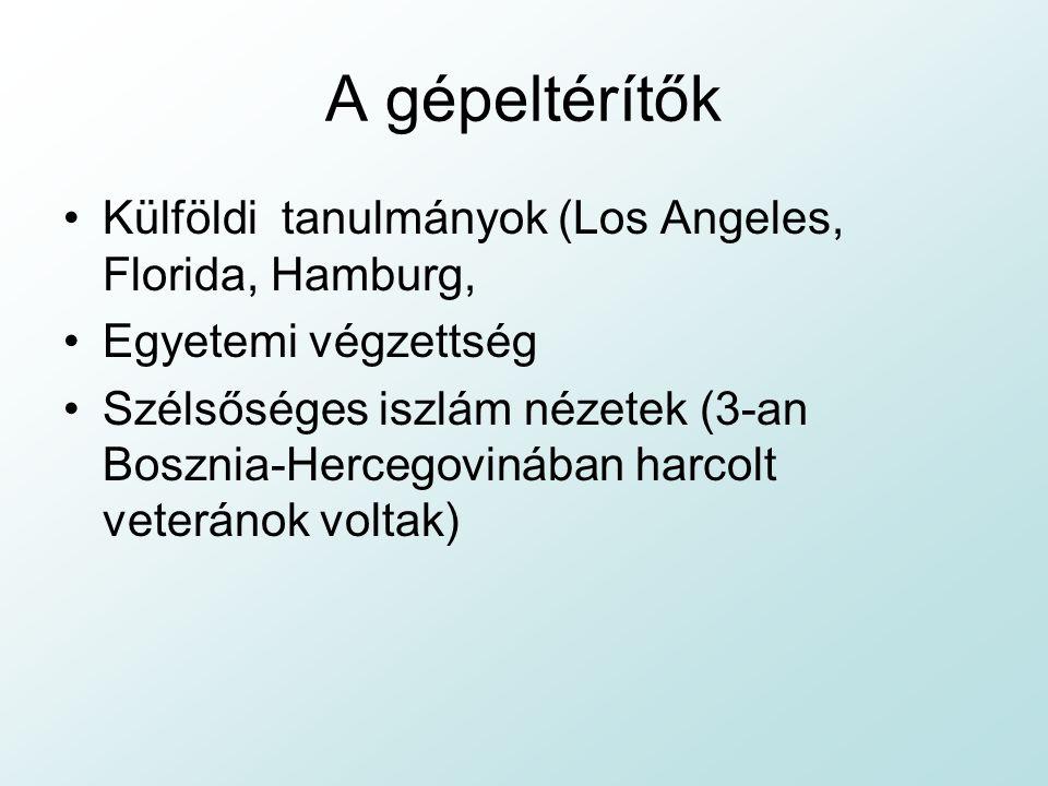 A gépeltérítők Külföldi tanulmányok (Los Angeles, Florida, Hamburg,