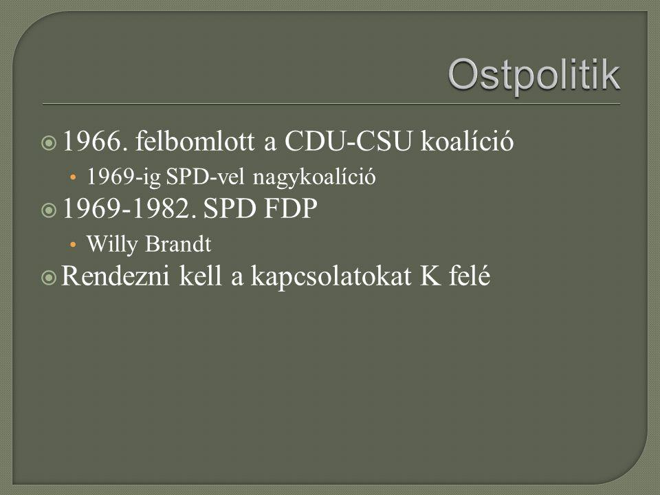 Ostpolitik 1966. felbomlott a CDU-CSU koalíció 1969-1982. SPD FDP
