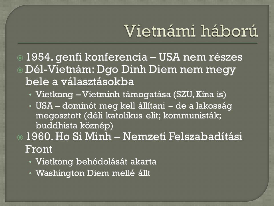 Vietnámi háború 1954. genfi konferencia – USA nem részes