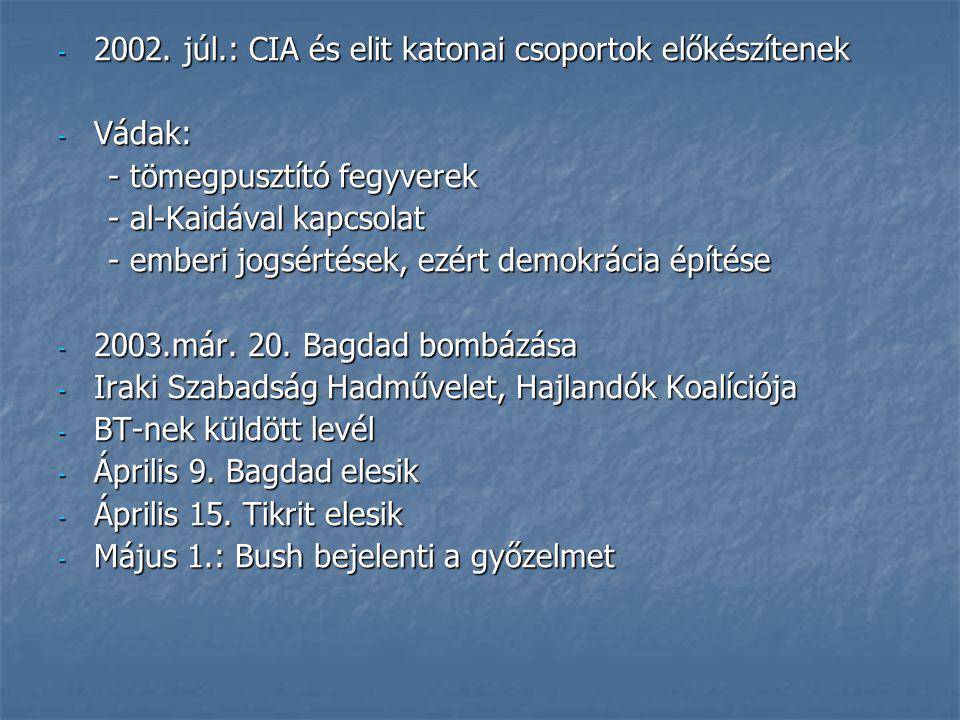 2002. júl.: CIA és elit katonai csoportok előkészítenek
