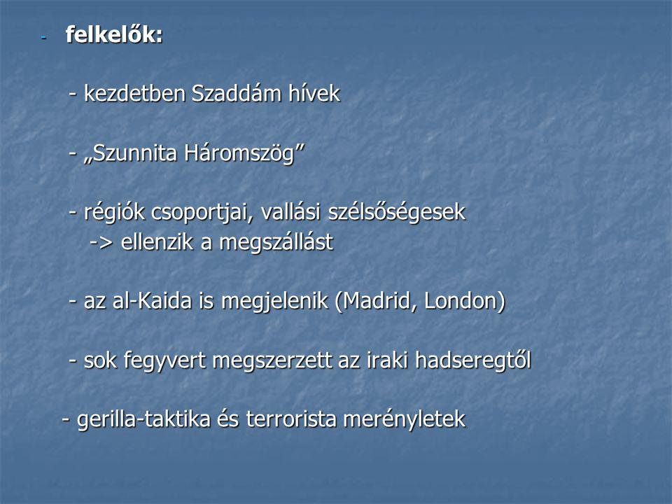 """felkelők: - kezdetben Szaddám hívek. - """"Szunnita Háromszög - régiók csoportjai, vallási szélsőségesek."""