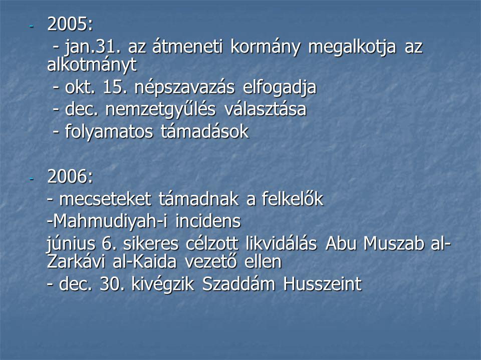2005: - jan.31. az átmeneti kormány megalkotja az alkotmányt. - okt. 15. népszavazás elfogadja. - dec. nemzetgyűlés választása.