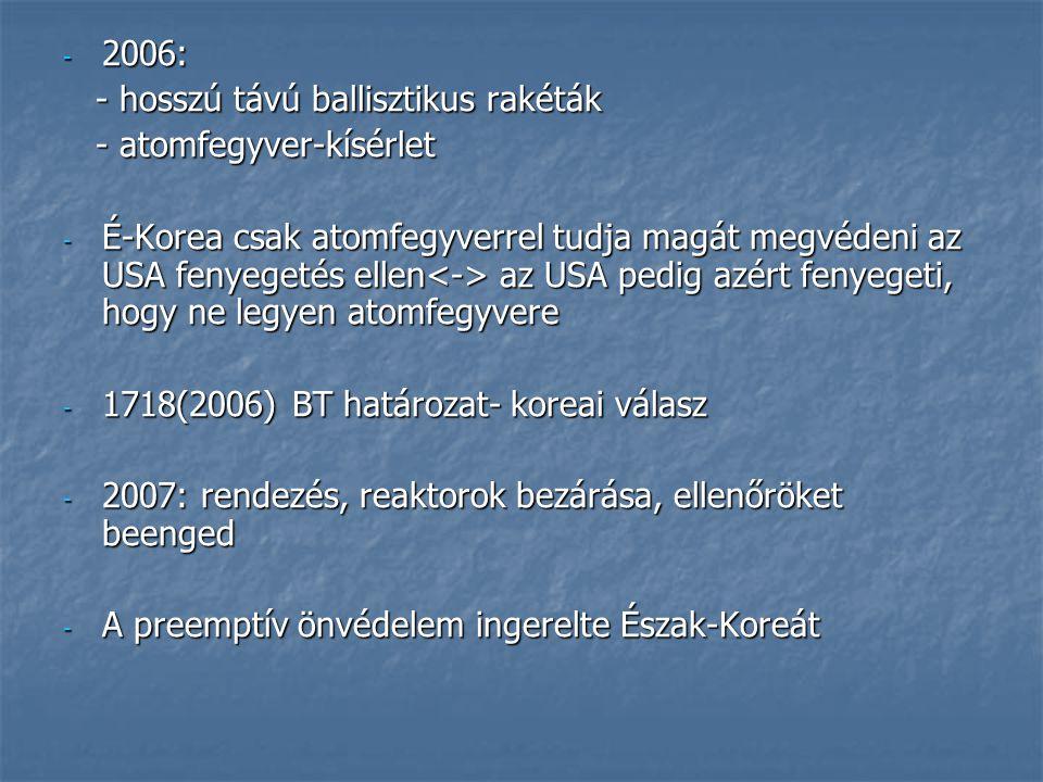 2006: - hosszú távú ballisztikus rakéták. - atomfegyver-kísérlet.
