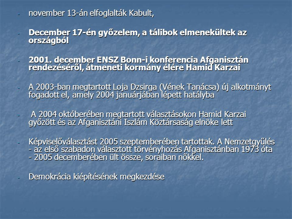 november 13-án elfoglalták Kabult,