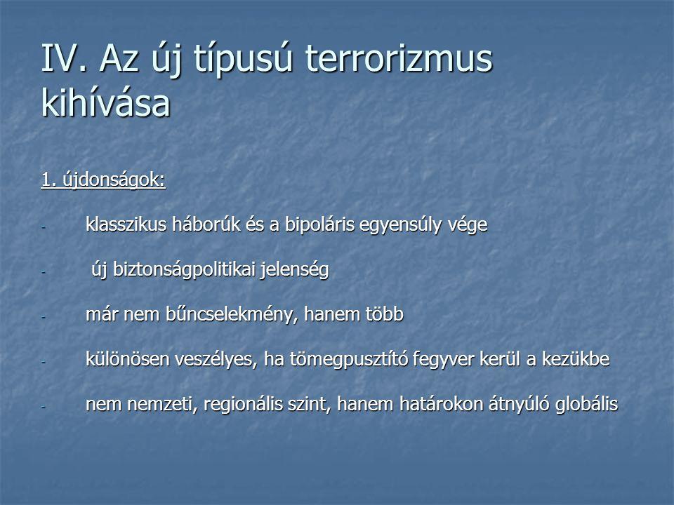 IV. Az új típusú terrorizmus kihívása