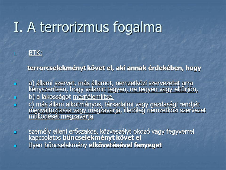 I. A terrorizmus fogalma