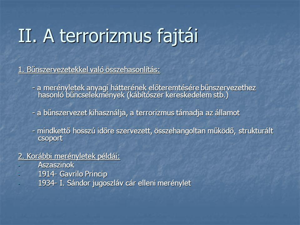 II. A terrorizmus fajtái
