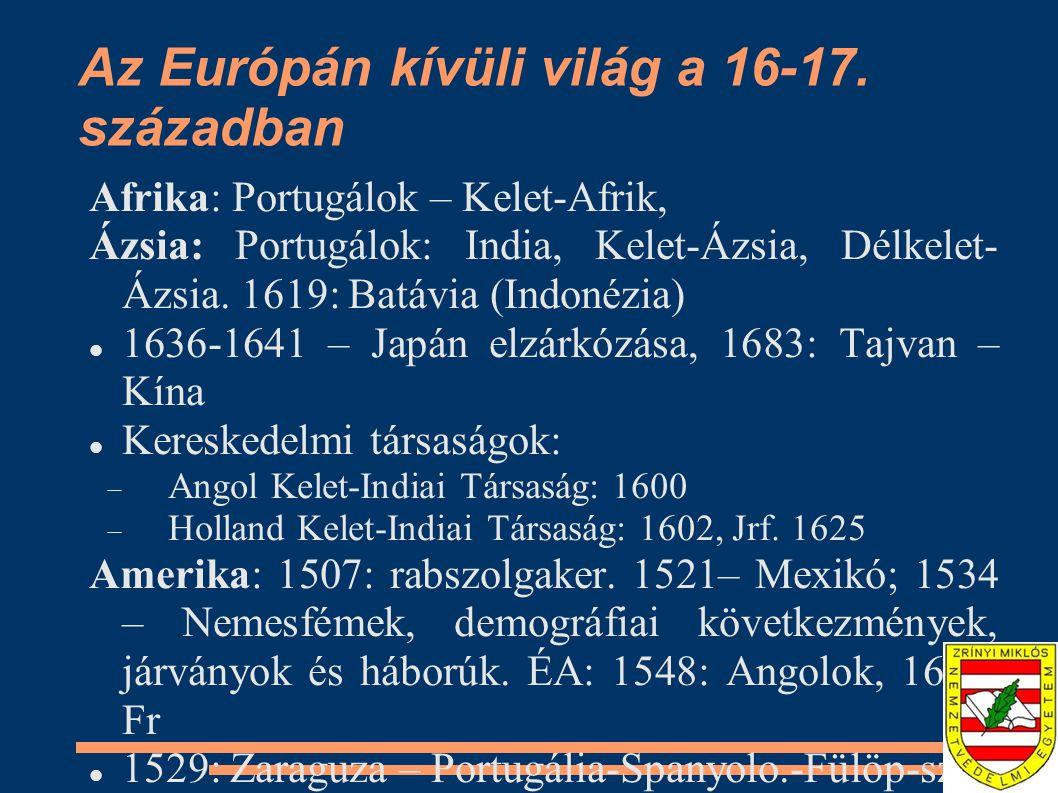 Az Európán kívüli világ a 16-17. században