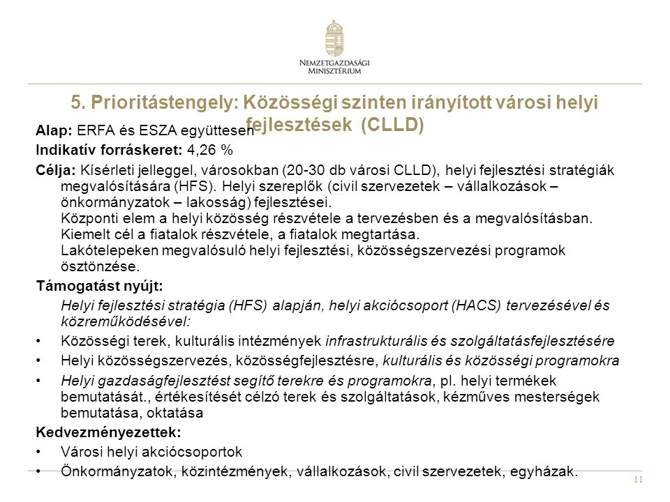 5. Prioritástengely: Közösségi szinten irányított városi helyi fejlesztések (CLLD)