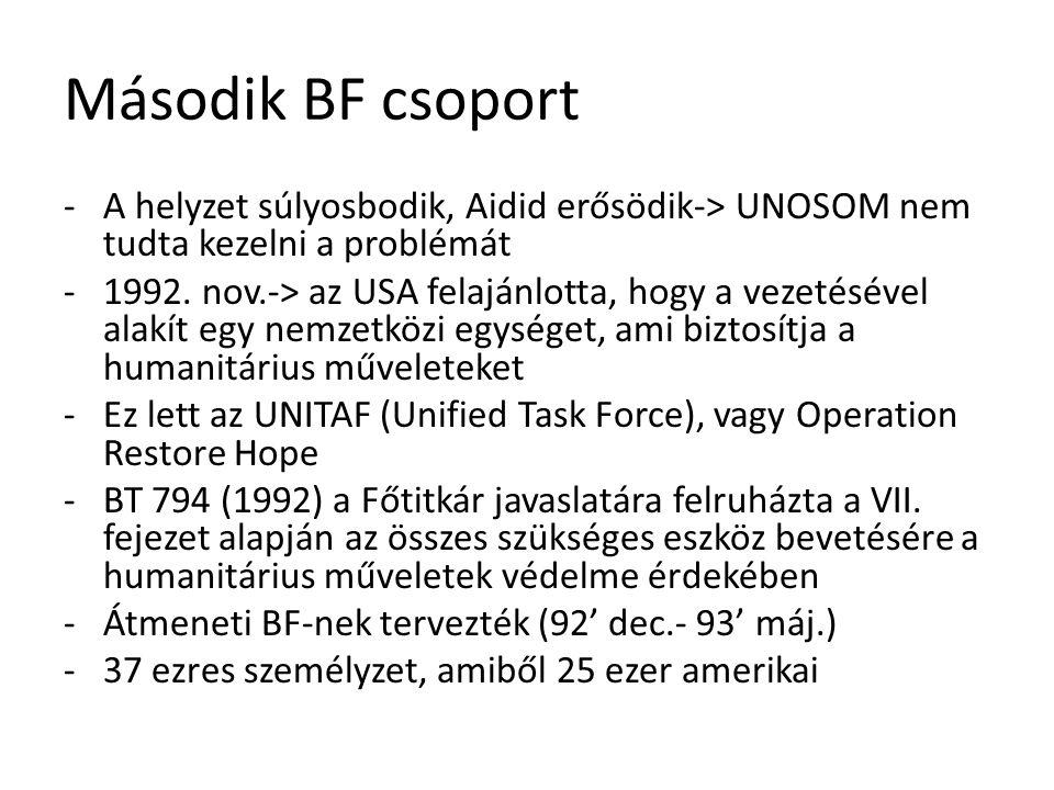 Második BF csoport A helyzet súlyosbodik, Aidid erősödik-> UNOSOM nem tudta kezelni a problémát.