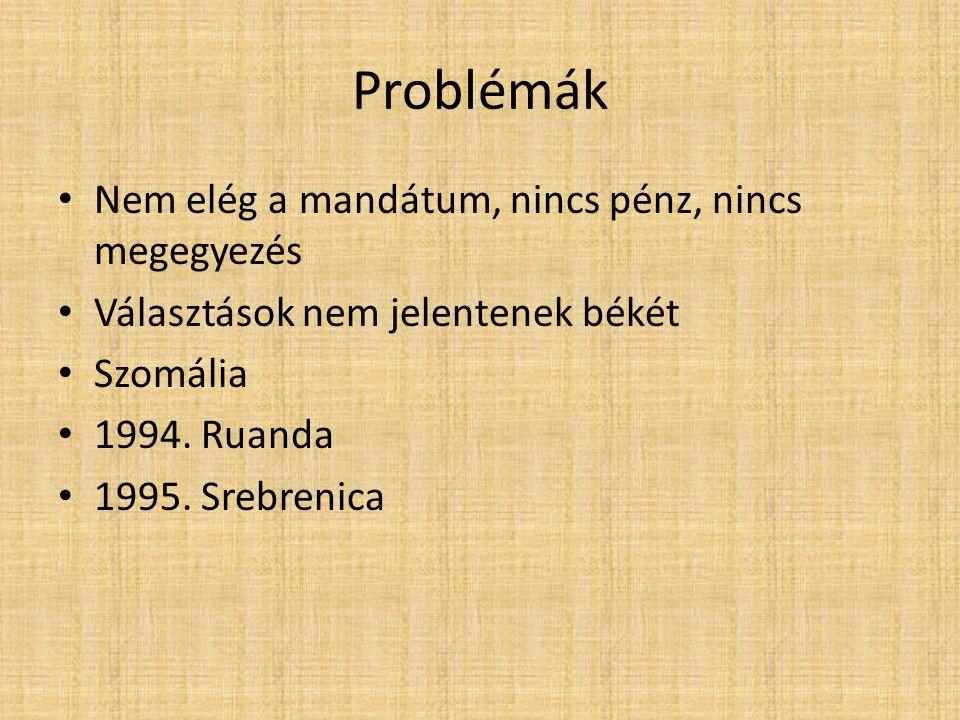 Problémák Nem elég a mandátum, nincs pénz, nincs megegyezés