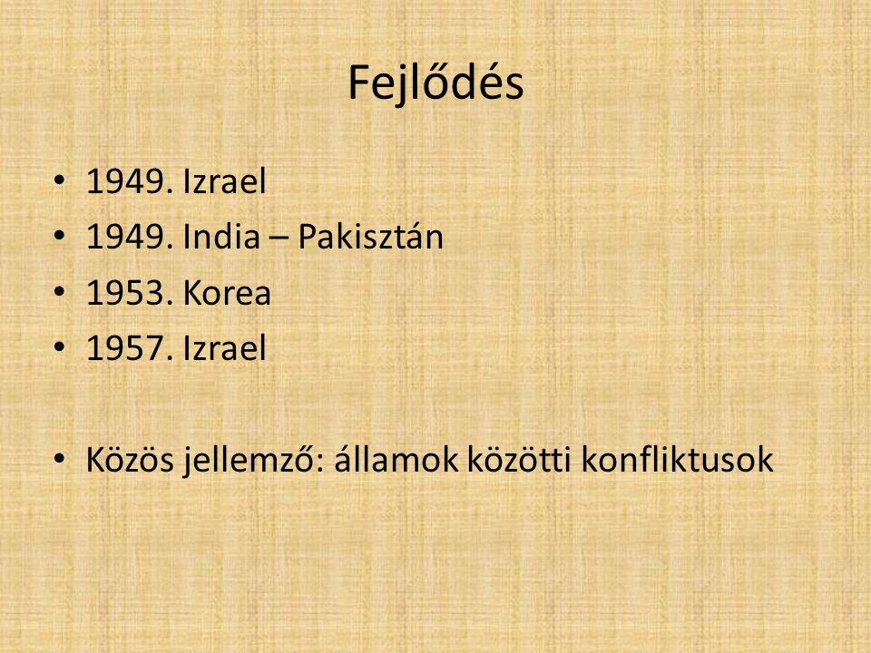 Fejlődés 1949. Izrael 1949. India – Pakisztán 1953. Korea 1957. Izrael